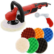 "7"" Variable Speed Polisher Buffer, Polishing Buffing 6 Pad Kit, Waffle Foam Wool"