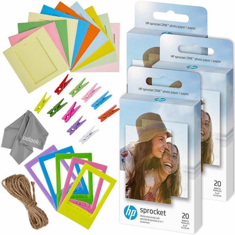 Zink 60 PK Photo Paper and Frames Bundle - Sticker Paper for HP Sprocket Printer
