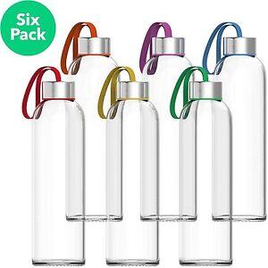 Vremi 18 oz Glass Water Bottle 6 Pack - Clear Reusable Beverage Drinking Bottles