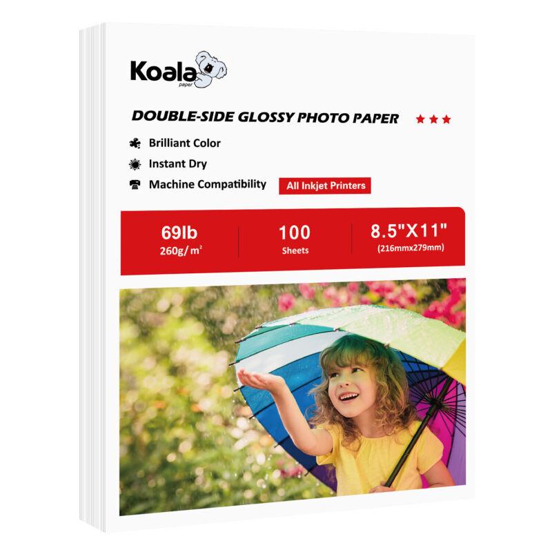 Koala 100 Sheets 8.5x11 Premium Double Sided Glossy Inkjet Printer Photo Paper