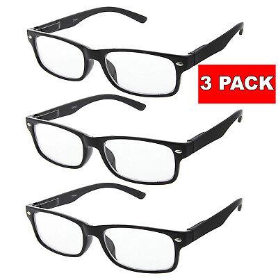 3 PACK Smart Interview Eye Glasses Clear Lens BLACK FRAME RETRO Geek Nerd Mens (Black Geek Glasses)