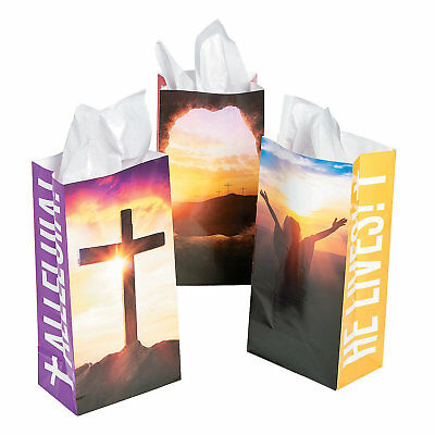 12 Easter Inspirational Religious Party Favor Paper TREAT BAGS Sacks](Easter Treat Bags)