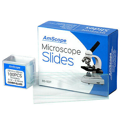 AmScope 50 Pre-Cleaned Blank Microscope Slides + 100 22x22mm Square Cover Glass