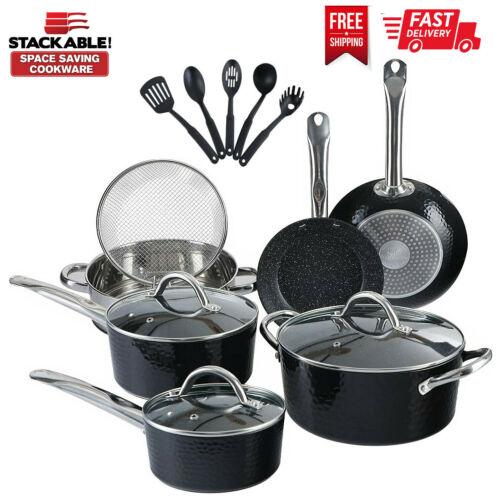 15 Piece Kitchen Pots & Pans Set Non stick Cookware Set Granite Coated,with Lids
