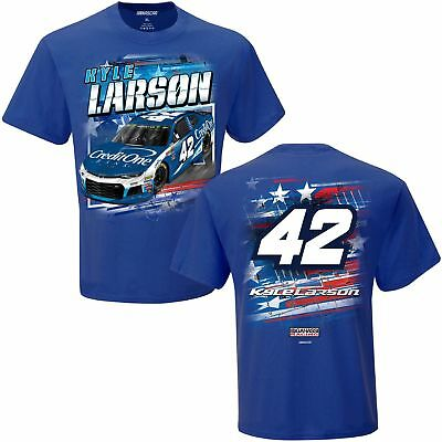 2018 Kyle Larson  42 Credit One Patriotic Blue  Short Sleeve Tee Shirt