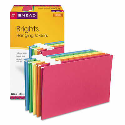 Smead Hanging File Folders 15 Tab 11 Point Stock Legal Assorted Colors 25box