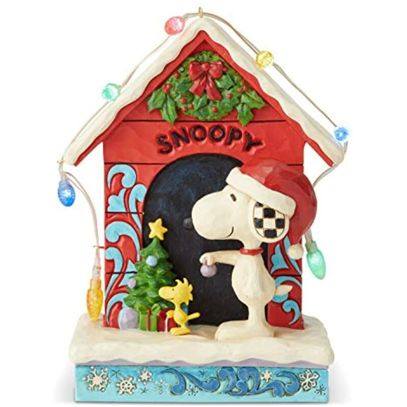"""Jim Shore Peanuts Snoopy and Woodstock Dog House Lit Figurine 7"""" 6002771"""
