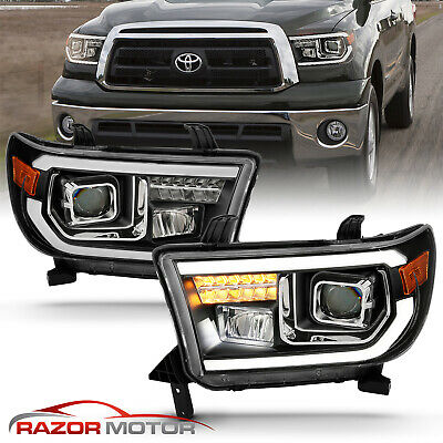 For 2007-2014 Toyota Tundra/Sequoia Square Projector Black Headlights