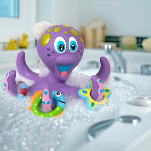 Nuby Purple Octopus Hoopla Floating Interactive Bath Toy with 3 Hoopla Rings