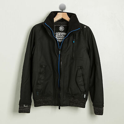 SUPERDRY Mens Small - Moody Bomber Original Jacket - BLACK w. BLUE ($228 MSRP)