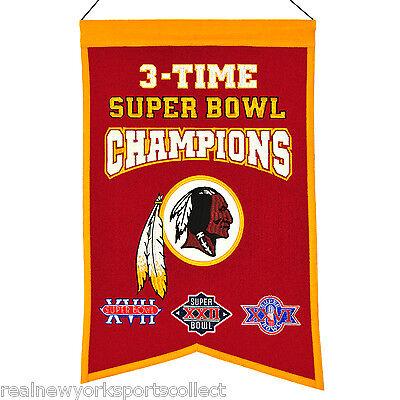 Washington Redskins Three Time Super Bowl Champions Banner Beautiful