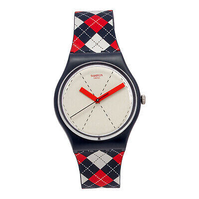 Swatch Gent Socquette Beige Dial Multi-colored Silicone Strap Unisex Watch GN255