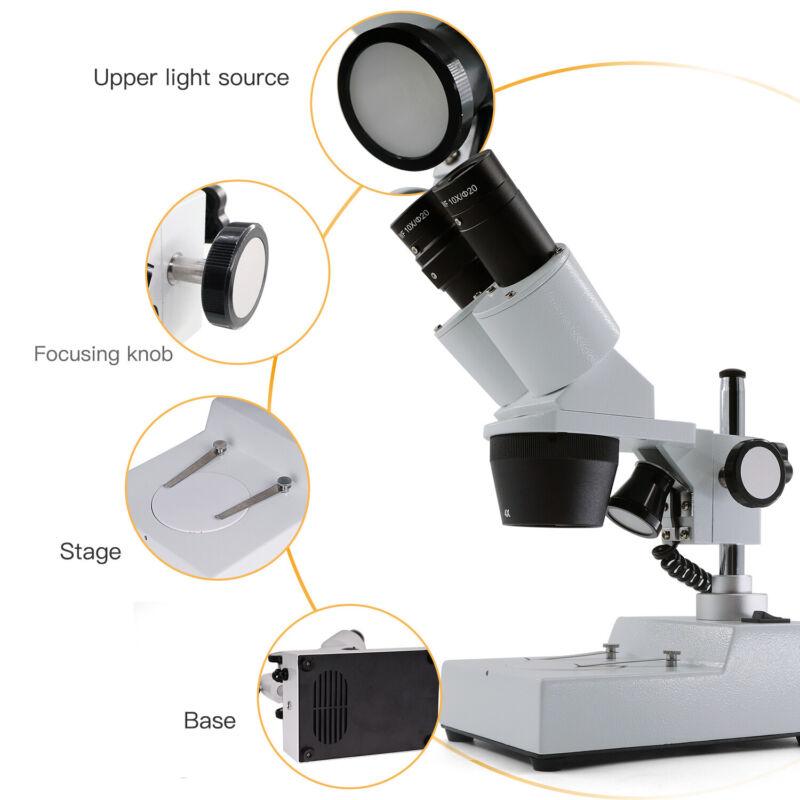 US Swift 20X/40X Student Magnification Binocular Stereo Microscope LED Lighting