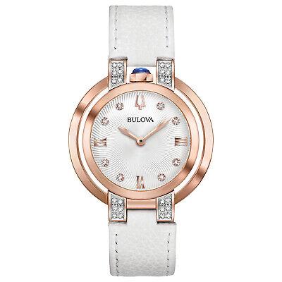 Bulova Women's Rubaiyat Quartz Diamond Accents Rose Gold Tone 35mm Watch 98R243
