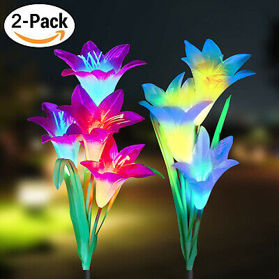 2 Pack Solar Power Lily Flower LED Lights Garden Stake Lamp Yard Outdoor Decor](Flower Led)