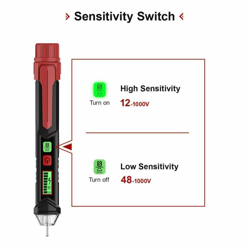 AC/DC Non-Contact Electric Voltage Compact Test Pen 12-1000V Detector Tester hot
