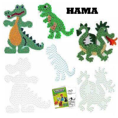 HAMA Stiftplatten-Set für Midi Perlen Krokodil  + Drache + Dinosaurier + Malbuch ()