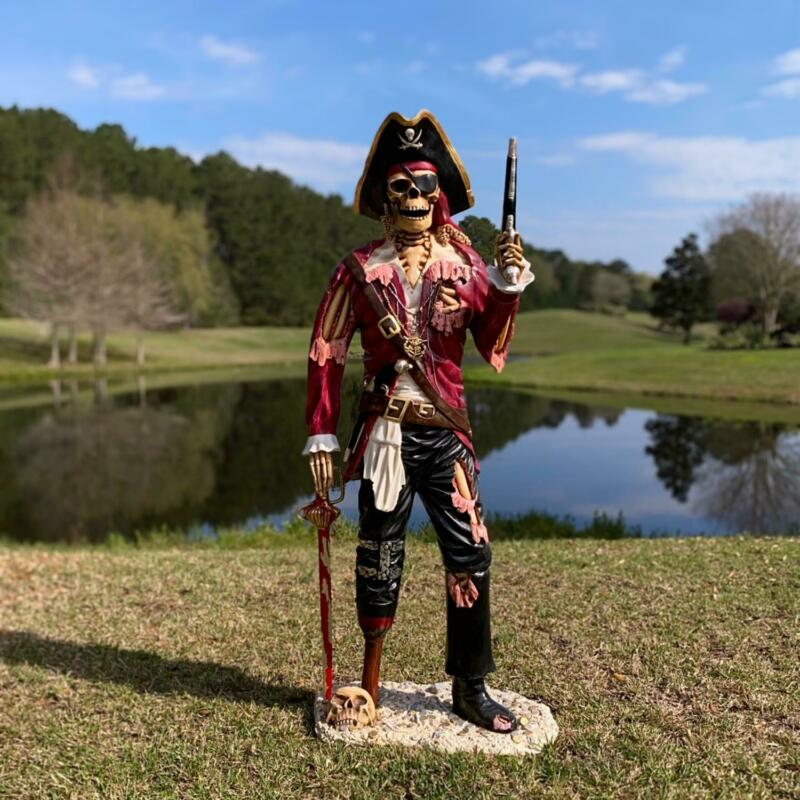 Life Size Pirate Skeleton Statue Caribbean Old Peg Leg Gun Sword
