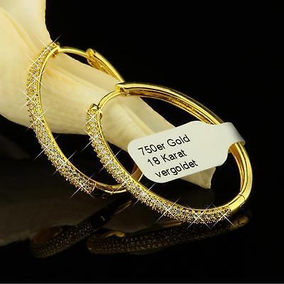 Ohrringe Creolen oval Zirkonia weiss Echt 750er Gold 18 Karat vergoldet O1030