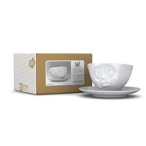 Fiftyeight TV Tassen Kaffee Tasse mit Untertasse 2-tlg. Weiss 200ml OCH BITTE