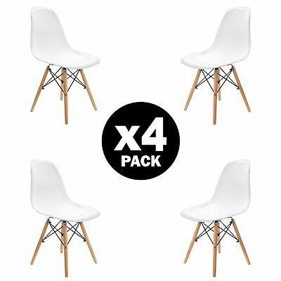 4x sedie da pranzo bianche sedie Eiffel con gambe in legno di faggio
