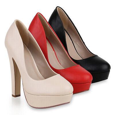 Damen Plateau Pumps Party High Heels Leder-Optik Abend 821853 Schuhe
