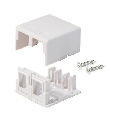 25 Pack Surface Mount Box 2 Port Double Hole Keystone Jack Cat5e/Cat6 White Blank Surface Mount Box