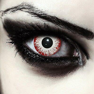 Gruselige weiße Zombie Kontaktlinsen für Halloween/ Karneval Kostüm: Zombie Fear