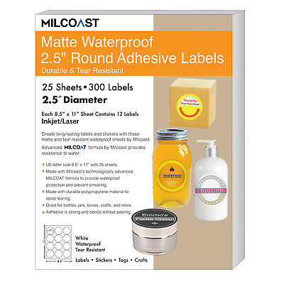 Milcoast Matte Waterproof Adhesive 2.5 Round Labels 300 Labels 25 Sheets