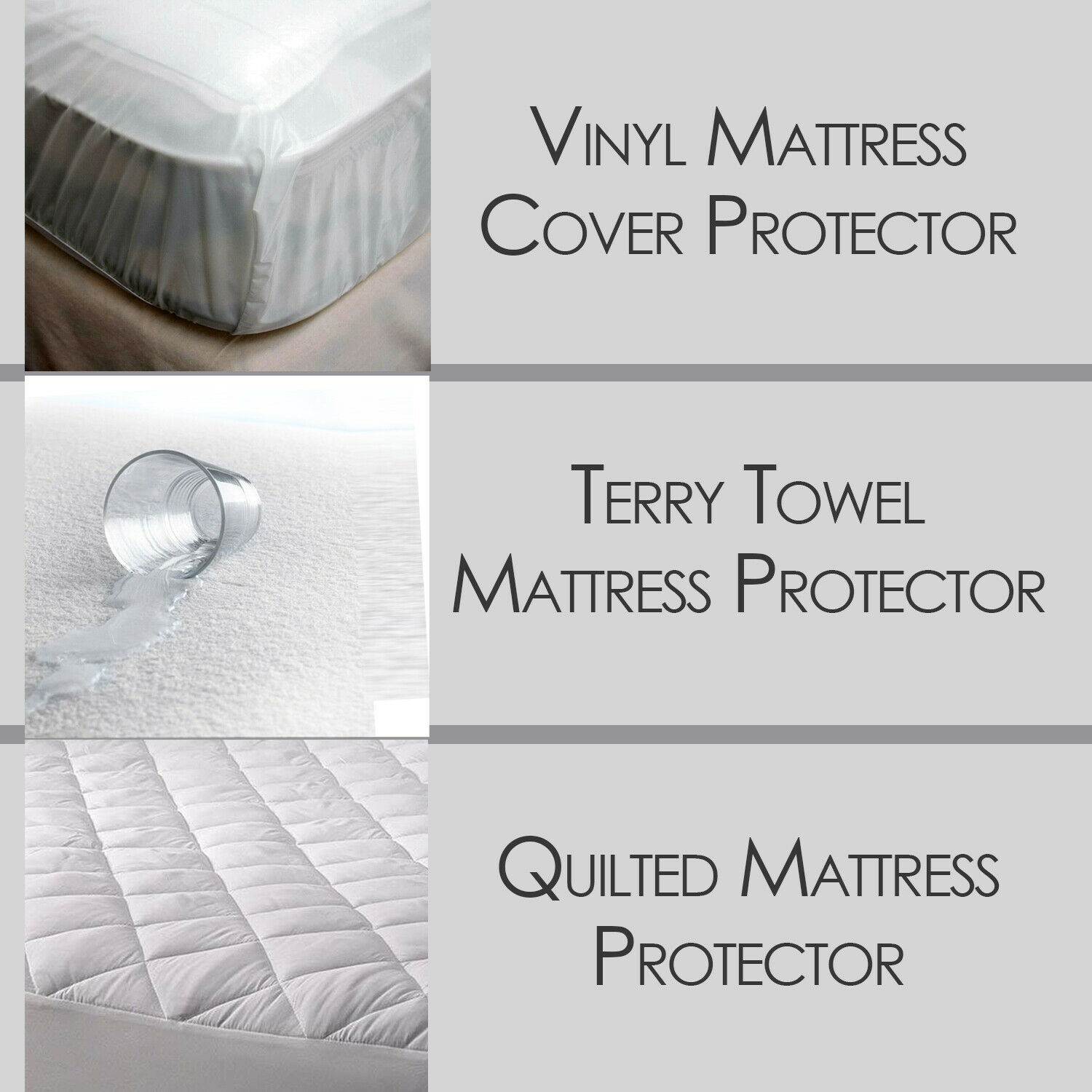 Waterproof Mattress Protector Bed Cover Quilted Terry Towel Vinyl Double All Sz Ebay