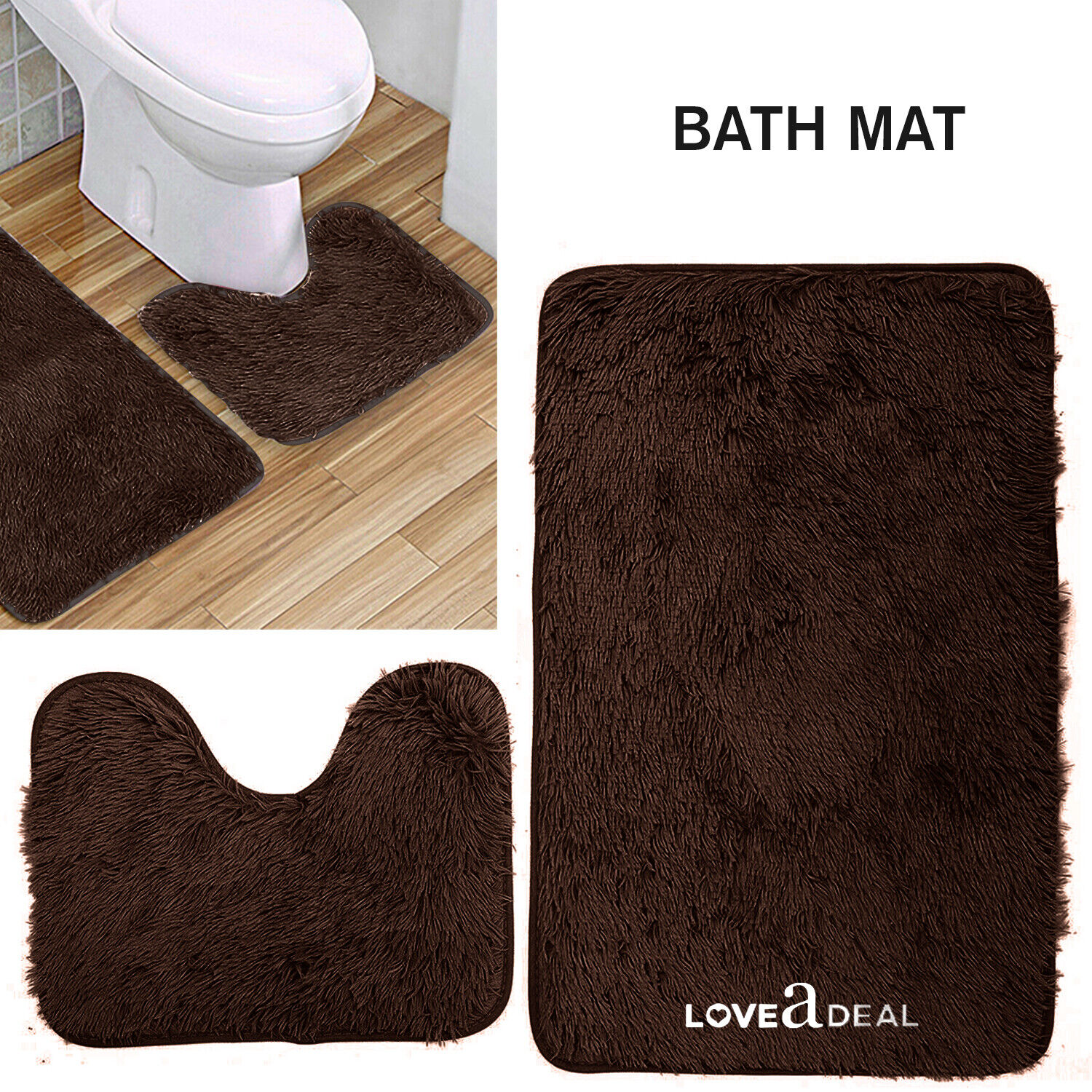 Shaggy Design Bath Mat Set Non Slip Pedestal Mat Toilet Bathroom Rugs Dark Brown Ebay