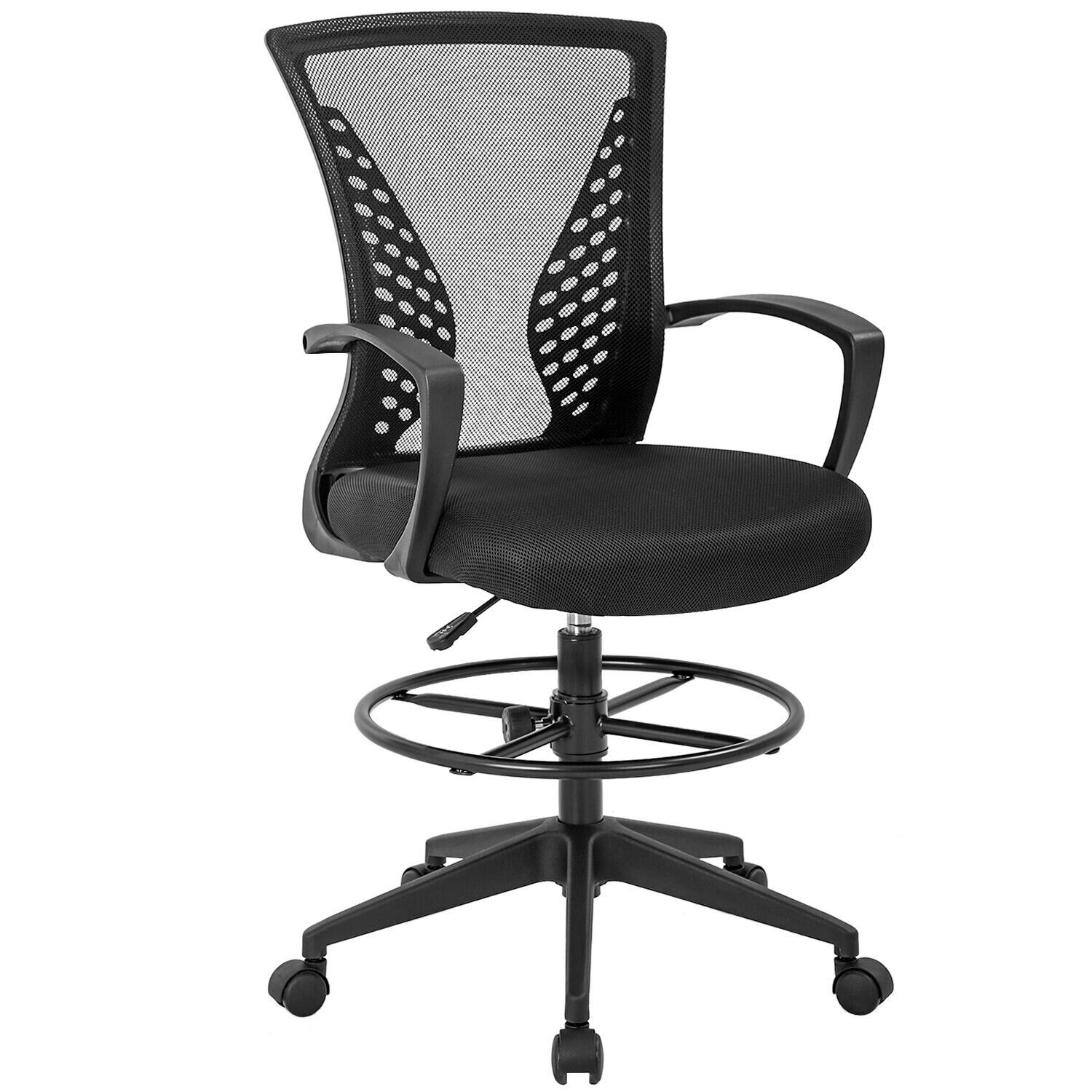 Drafting Chair Tall Office Chair Adjustable Height with Arms Foot Rest Back Business & Industrial