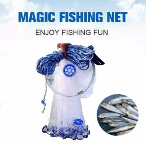Durable Hand Throw Fishing Net Cast Bait Sinker Small Mesh Equipment 34