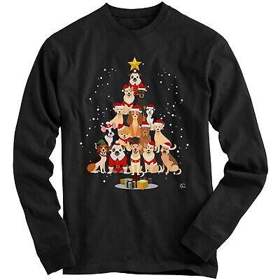 1Tee Kids Boys Dog Christmas Tree Sweatshirt Jumper ()