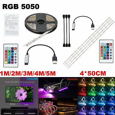 16FT USB LED Strip Lights TV Back Light 5050 RGB Colour Changing w/ 24Key Remote
