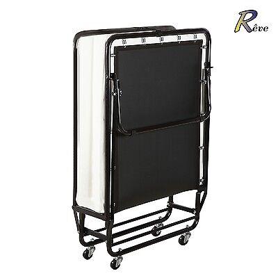 Platform Folding Metal Rollaway Guest Bed with Memory Foam Mattress Twin Size