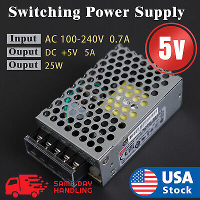 Mean Well Rs-25-5 Enclosed Switching 5 Volt 5 Amp Acdc Power Supply 5v 5a 25w