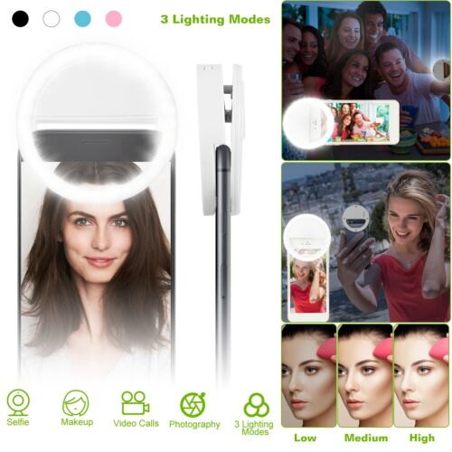 Details about Selfie Portable LED Ring Fill Light Camera Photography For  CellPhone iPhone X Xs