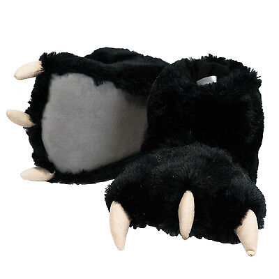 Lazy One Black Bear Paw Super Soft Slippers Adult & Kids House Shoes