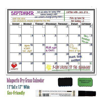 17 X 11 Monthly Dry Erase Magnet Fridge Calendar Flexible White Board Message