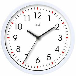 Hito Modern Colorful Silent Non-Ticking Wall Clock- 10 Inches White NEW