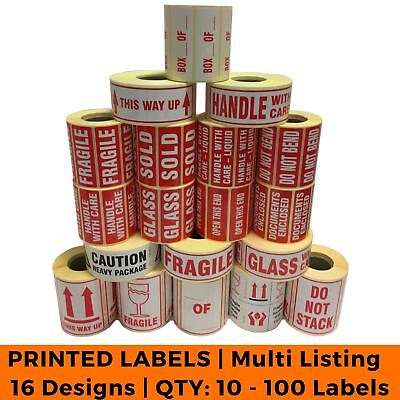 Postage Stickers - Small Qty 10 - 100 Labels - Fragile Glass Bend - 19 Designs