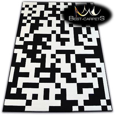 MODERN CARPETS 'FLASH' GEOMETRIC BLACK AND WHITE TETRIS CHEAP AREA Rugs