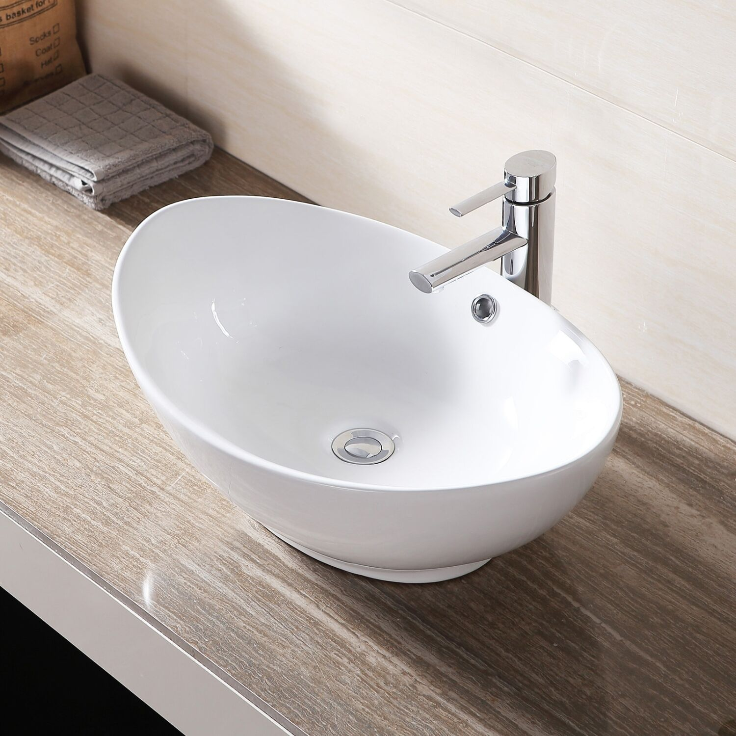 White Porcelain Ceramic Bathroom Sink Vessel Vanity Basin Bowl W Pop Up Drain Ebay