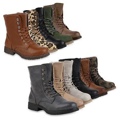 Damen Herren Stiefeletten Worker Boots Schnürstiefel Cut-outs 816848 Schuhe
