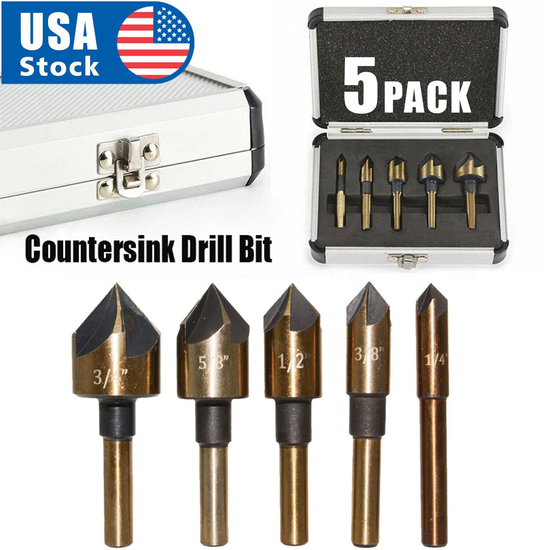 5pcs HSS Industrial Cobalt Countersink Drill Bit Set Counter Sink Chamfer Angle Drill Bits
