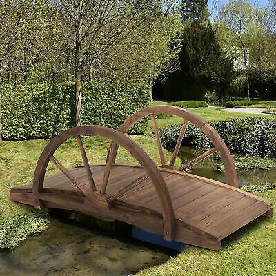 Garden Wooden Bridge Rustic Outdoor Landscape Decor Backyard Pond Decoration
