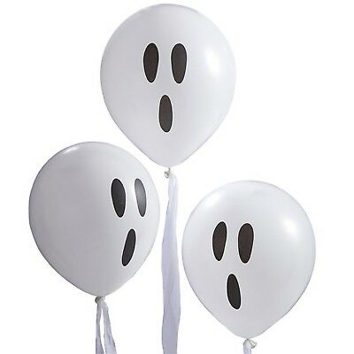 Halloween Party Spooky White Black Ghost Balloons With Streamers Decorations - White Balloons Halloween