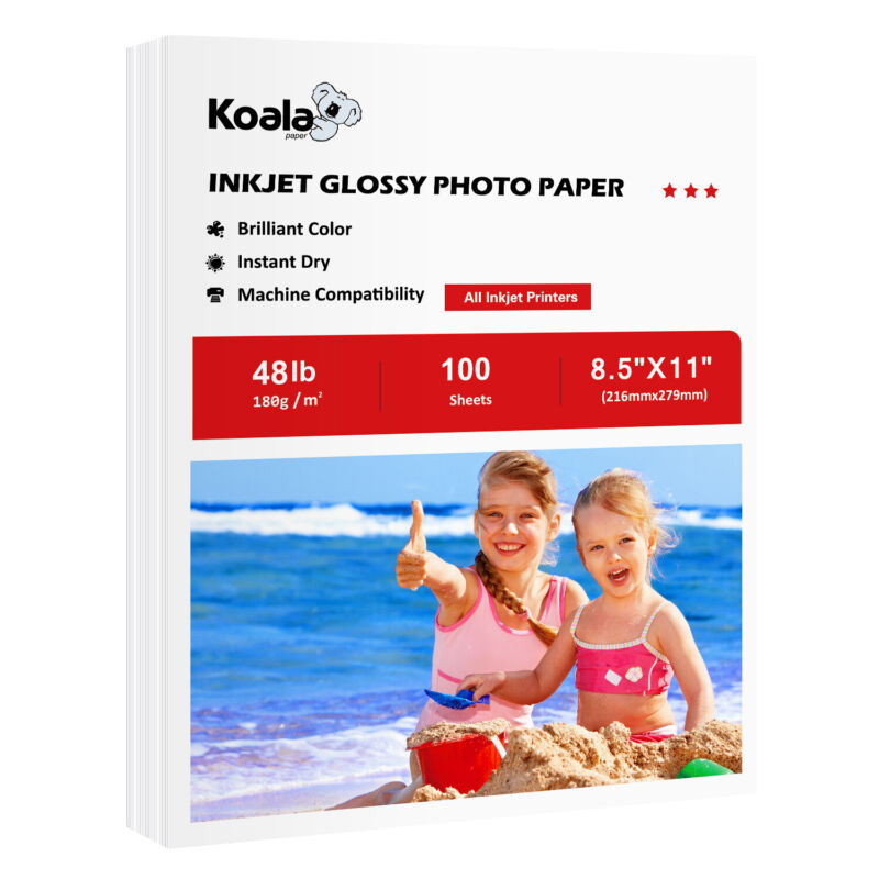 Koala 100 Sheets 8.5x11 Premium Glossy 48lb Inkjet Printer Photo Paper Epson HP