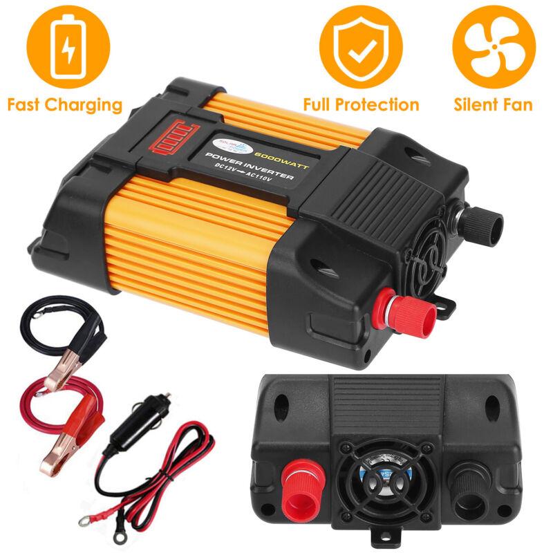 6000W Car Power Inverter Truck/RV Inverter 12V DC to 110V AC Converter USB Ports